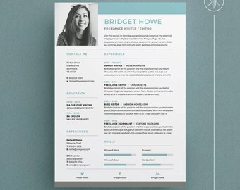 Bridget Resume/CV Template | Word | Photoshop | InDesign | Professional  Resume Design |