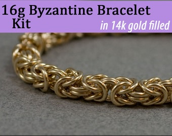 16g Byzantine Bracelet Chainmaille Kit in Gold Fill