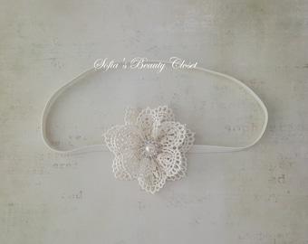 Ivory Lace headband, Newborn lace headband, Christening headband, Baby lace headband, Ivory headband, Lace headband, Vintage headbands