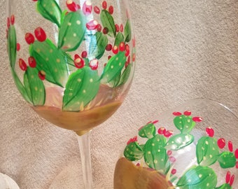 Hand Painted Wine Glasses. Cacti Wine Glasses.  Prickly Pear Wine Glasses, Western Wine Glasses. Southwest Wine Glasses