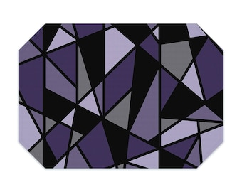 Purple placemat, geometric placemat, printed cloth placemat, black, gray, fabric placemat, table linens, table setting, modern decor