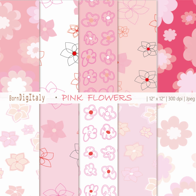 Floral Digital Download Paper Pack Printable Flower Paperpink