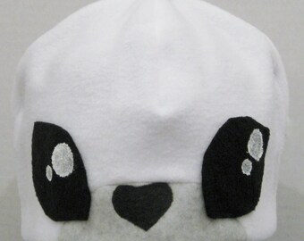 Seal Fleece Hat - WHITE & GREY