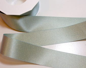 Blue Green Satin Ribbon 1 1/2 inches wide x 20 yards, Gold Ribbon, Morex Glitter Pearl Gold Satin Ribbon, Blue Topaz 8866.38/20-308