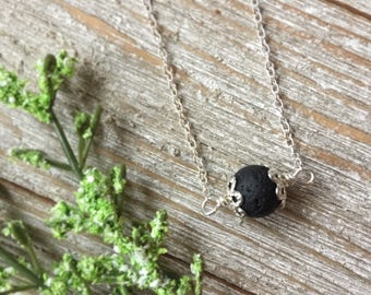 Lava Stone Aromatherapy Diffuser Necklace, Volcanic Rock Necklace, Oil Diffuser, Lava Stone Necklace, Simple Necklace, Gemstone Necklace