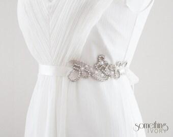 LUCY - Pearl and Rhinestone Beaded Bridal Sash, Wedding Belt