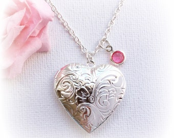 Silver heart locket, Locket necklace, Locket,Birthstone necklace, Silver heart necklace, Sisters Jewellery,Birthday gift, SPBIHL1