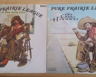 Pure Prairie League- Will Sell Individually - Two Lane Highway / If The Shoe Fits - APL1-0933/APL1-1247 - 1975/1976-Original US Issues - VG+