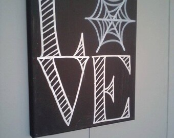 Spiderweb LOVE Canvas Painting