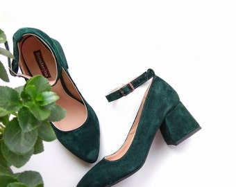 Ankle strap green shoes, bridesmaid shoes, Wedding Shoes, bridal shoes, pump shoes, heels shoes, pointed toe, pumps, leather pumps