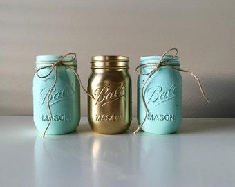 Rustic Wedding Centerpieces - Distressed Painted Mason Jars - Mint Wedding Centerpieces - Rustic Wedding Decor - Mason Jar Decor