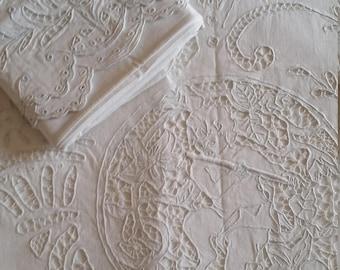 GORGEOUS VINTAGE SHEET & Matching Pillowcases~Cherub~Cutwork