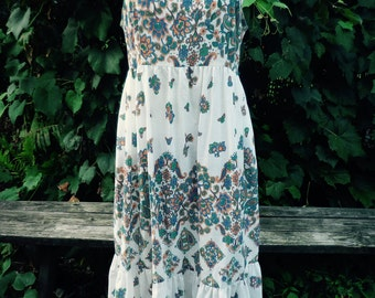 Vintage paisley / floral print sundress / medium