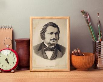 Vintage Soviet Print Honore de Balzac 50*58 • USSR Old Poster 1950' •  school portrait for classroom