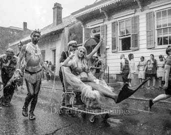 Parading Through the Rain - Southern Decadence - New Orleans 2016 - Fine Art Photograph - Street Photography - Black and White - Mermaids