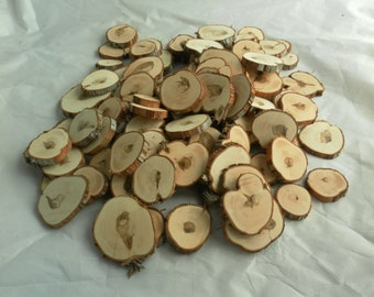 100 Assorted Wood Slices~ 1.25 to 3 Inch~ Tree Slice Assortment, Tree Cookies, Natural Wood Slices, Tree Slices, Mosaic Pieces