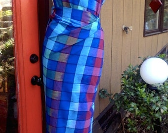 CUSTOM  Garment. Dress. Top. Skirt. Other. BLUES in VIBRANT Plaid. Cotton, oh my so beautiful.