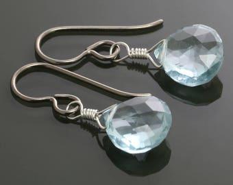 Aqua Blue Quartz Earrings. Titanium Ear Wires. Hypoallergenic. Gemstone Dangle Earrings. Bridal Earrings. f15e033