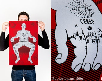 """Screen printed limited edition """"Who is The Real Criminal?"""" [poster 40 * 60 cm and 2 colors."""