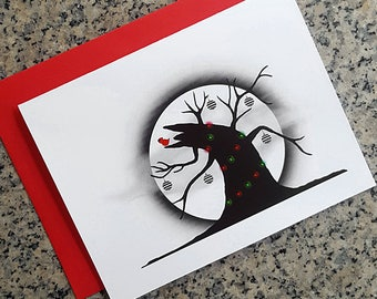 Sleepy Hollow Tree of the Dead christmas holiday cards / notecards / thank you notes (blank/custom text inside) with envelopes - set of 10