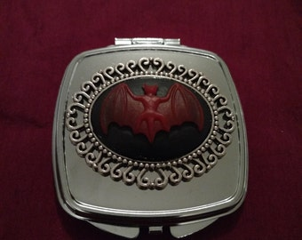 Red Vampire Bats Silver Gothic Compact Mirror