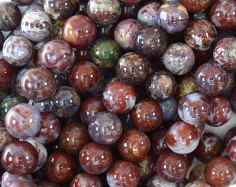 """8mm natural red lightning agate round beads 15.5"""" strand 40104"""