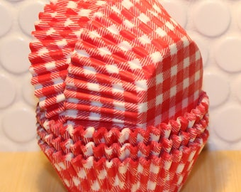 Red Gingham Cupcake Liners (Qty 45) Red Gingham Baking Cups, Red Cupcake Liners, Red Baking Cups, Red Muffin Cups, Cupcake Liner, Baking Cup