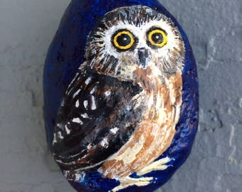 Saw whet owl painted rock paperweight
