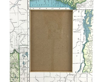 Repurposed Atlas Page Picture Frame- USA