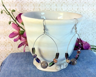 Purple Stone and Glass Hoops