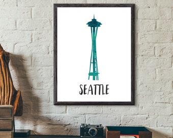 Seattle, Washington, USA Watercolor Print - Space Needle