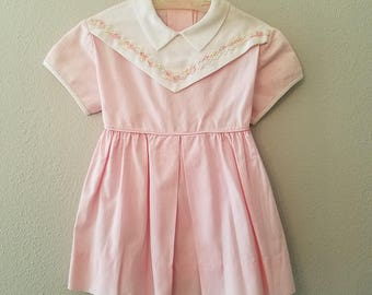 Vintage 1950's Girls Pink Dress with White Collar and  Floral Applique- Size 24 months- Gently Worn