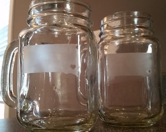 South Dakota Etched Mason Jar Mugs - Set of 2
