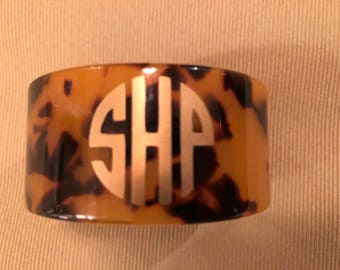 Monogram Bracelet- cuff- monogram- tortoise shell- gold- bracelet- Mother's Day gift- Mother's Day- Graduation gift- Graduation
