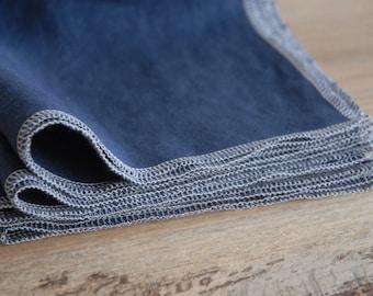 Famille Starter Set - vendu par lot de 10 - serviettes en lin réutilisable marine - sur commande