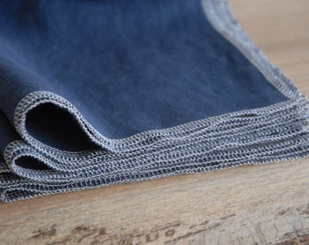 Family Starter Set - Sold in Sets of 10 - Reusable NAVY Linen Napkins - Made to Order
