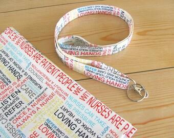Nurse lanyard, Keys lanyard for nurses, ID badge lanyard, badge holder,  fabric lanyard Mother's Day gift