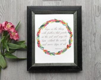 Hope Calligraphy Sign - Calligraphy Wall Art - Inspirational Wall Decor - Floral Wall Decor - Custom Calligraphy Art