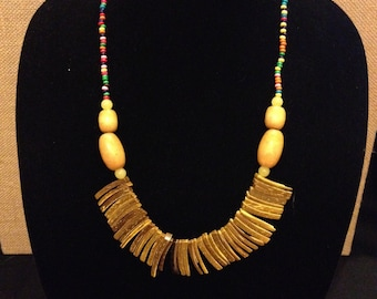 Handmade Yellow Coconut Spear Necklace