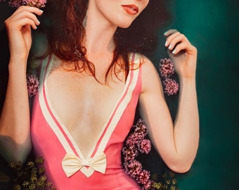 LATEX SAMPLE SALE- metallic pink low V neck mini dress with white bow detail uk size 8-10