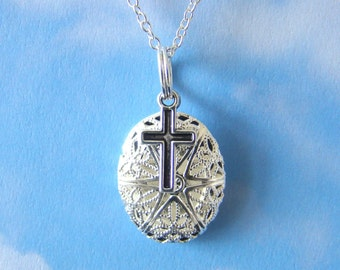 Blessed Demi Essential Oil Diffuser Necklace, Aroma Therapy Diffuser Necklace, Cross Jewelry