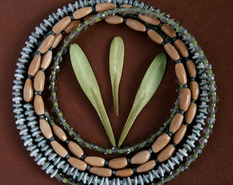 long delicate necklace with natural seeds and glass beads - tropical boho jewelry - extra long thin beaded necklace - ethnic style