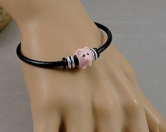 Pink Pig Bracelet, Piglet Hog Bracelet, Black Leather Cord European Charm Bracelet, Farm Animal Jewelry