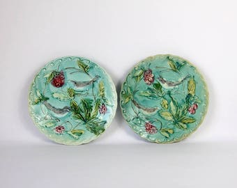 French Antique Majolica Plate, SET of 2, Chinoiserie Style, Birds and Foliage, Hand Painted