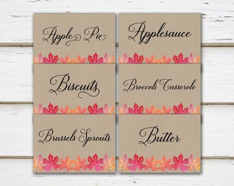 Printable Thanksgiving Food Cards, Place Cards, Filled In, Personalized, Customized, Thanksgiving Foods, Food Tents, Friendsgiving, MB258