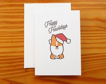 "Happy Howlidays Greeting Card | 5x7"" Card with Envelope | Corgi Card | Holiday Cards | Santa Christmas Greeting Cards | Holidays | Handmade"
