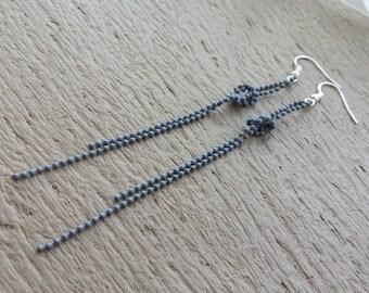 Grey knot earrings