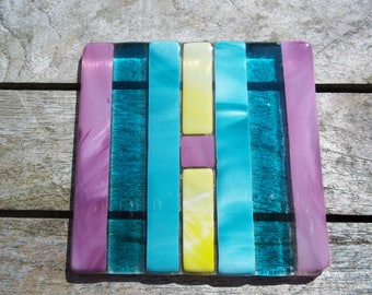 Fused glass coaster stripped design