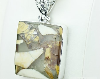 Fabulous BRECCIATED MOOKAITE 925 S0LID Sterling Silver Pendant + 4MM Snake Chain & Worldwide Shipping P3659