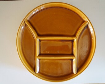Vintage Set of 4 Staub France Fondue Plates, Caramel brown round plates, French dinnerware, divided plates, Grill plates